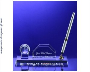 - ANEDesigns Engraved Crystal Globe Pen and Business Card Holder Set