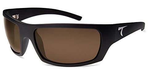 Typhoon Men's Cayucos Polarized Wrap Sunglasses, Matte Black/Aquaview Sunset Brown, 78 - Typhoon Eyewear