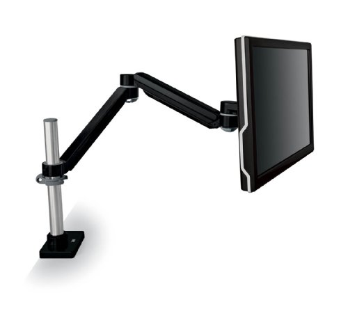 3M Easy Adjust Desk Mount Monitor Arm, Adjust Height, Tilt, Swivel and Rotate by Holding and Moving Monitor, Free Up Desk Space, Clamp or Grommet, For Monitors Up to 20 lbs <= 27'', Black (MA240MB) by 3M