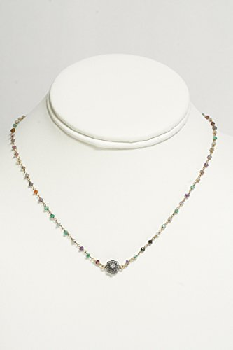 Dainty Gold Multi-color Bead Necklace with Flower Center - Dimond Center
