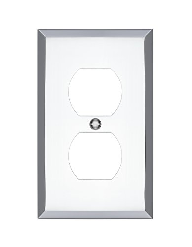 (MAYKKE Graham Single Duplex Outlet Cover Electrical Socket Solid Brass Wall Plate Switch Cover 5 Color Finishes to Choose from, Polished Chrome,)