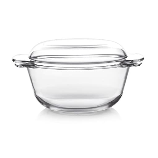 Cello Angelica Round Glass Casserole With Lid, 2 Litres, Clear