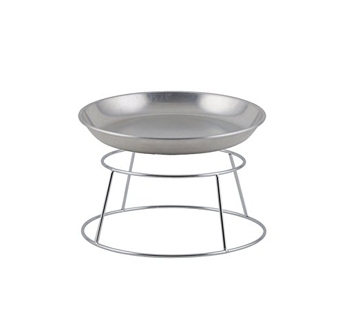- Winco ASFT-14 & SFR4, 120-Ounce Brushed Aluminum Round Serving Seafood Platter Tray with Display Rack Holder (120 oz)