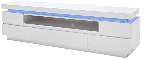 Robas Lund 48982WW8 TV Lowboard Ocean, 5 Schubkästen, offenes Fach, LED Beleuchtung mit Farbwechsel, circa 175 x 40 x 49 cm, hochglanz weiß