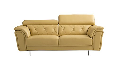 Italian Design Leather Sofa Loveseat - American Eagle Furniture EK068-YO-LS Winfield Collection Italian Leather Button Tufted Loveseat with Pillow Armrests, Yellow