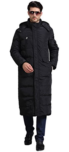 Chartou Men's Fashion Thickened Oversized Windproof Long Hooded Down Coat Jacket (X-Large, Black 1)