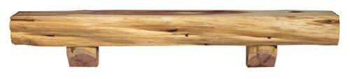 Pearl Mantels 900-72-00 Cedar Live Edge Mantel Shelf with Corbel Bracket, 72-Inch