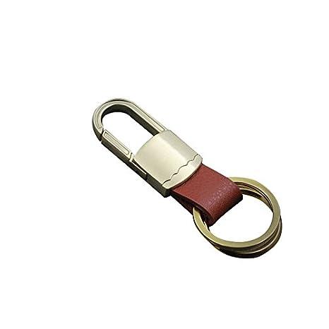 Vikenner Moda Hombre Cinturón Llavero de Cuero para automóvil Llavero Llaveros de Metal Mosquetones - 9cm - Dorado