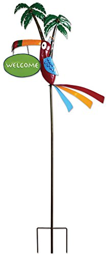 Toucan Metal - Sunset Vista Designs MF098 Tropical Toucan and Palm Trees Garden Stake, Metal, Welcome