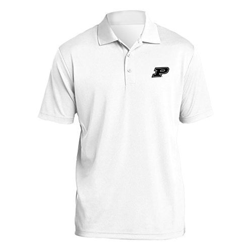 (UGP Campus Apparel AP07 - Purdue Boilermakers Primary Logo Left Chest Mens Polo - X-Large - White)