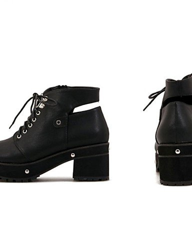 Mujer Robusto Exterior Black Botas Negro Cuero Uk5 us8 Trabajo Zapatos Cn39 Y Cn38 Tacón De Eu39 Xzz 5 Black us7 Uk6 5 Anfibias Eu38 casual oficina Sintético YqAEw0