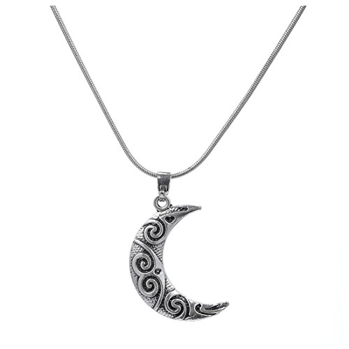 Wiccan Jewelry Trends Crescent Moon Spiral Pendant Snake Chain Necklace