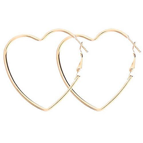 Cereza Women Stainless Steel Simple Geometric Heart Hoop Earring (Heart70Gold) ()