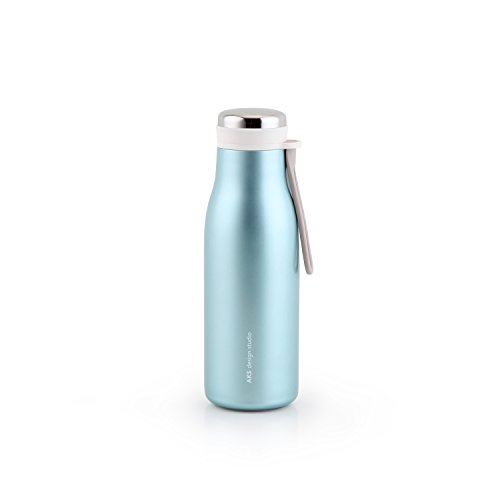 AKS Vacuum Insulated Stainless Steel Water Bottle, Double Wall Leak Proof Sweat Proof 17Oz/ 12Oz Cool Insulation Thermos Flask (Blue, 12OZ)