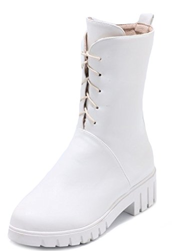 Boots Women's Lace White Daily Up Aisun Toe Round OxqzpdY