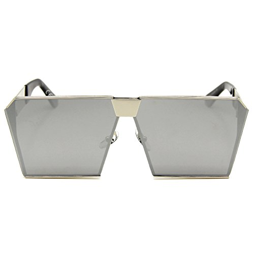 lente Gafas mujeres de reflectante las de Espejo sol amztm cuadrado tamaño gran polarizada efecto plata para Ya4RWqwI