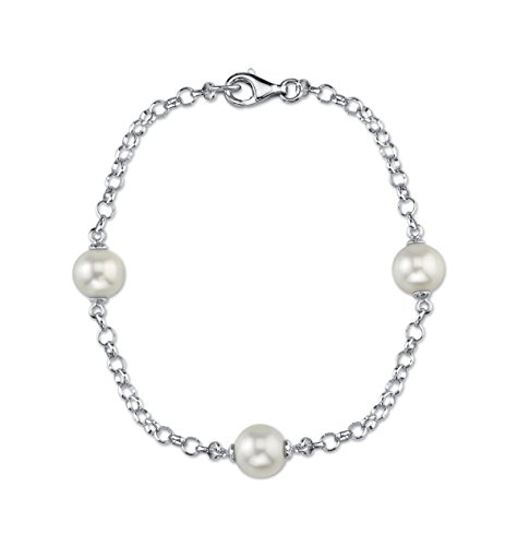 THE PEARL SOURCE 9-10mm Genuine White Freshwater Cultured Pearl Link Bracelet for Women