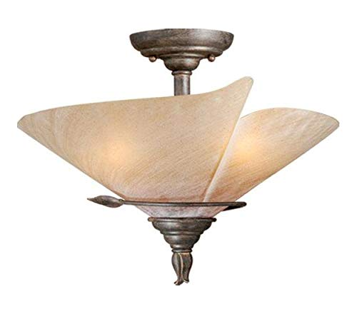 Black Walnut Capri 3 Light Semi-Flush Indoor Ceiling Fixture with Frosted Glass Shade - 15 Inches Wide