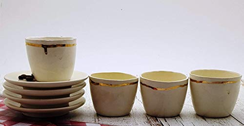 (Handmade White and Gold Striped Ceramic Espresso Cups with Matching Saucers - Set of 4, Artisan Pottery Dishware, Unique Coffee Lover Gift)