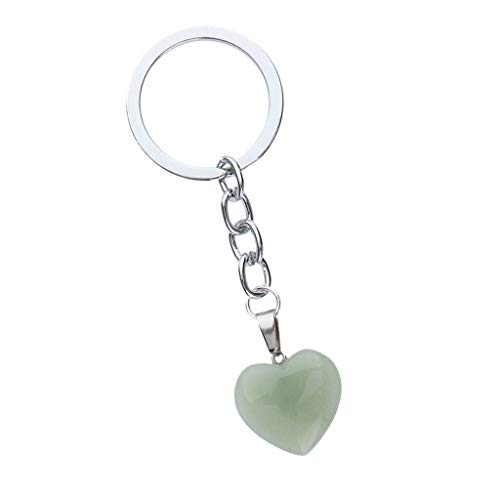 (NATFUR Heart-Shape Key Chain Fashion Key Pendant Bag Ornaments Decor Key Accessory Pretty Novelty Key-Chain for Women Holder for Girls Fine Lovely | Color - Green)