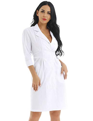 zdhoor Womens Button Front Scrub Dress Hospital Medical Nurse Uniforms Dress with Pockets