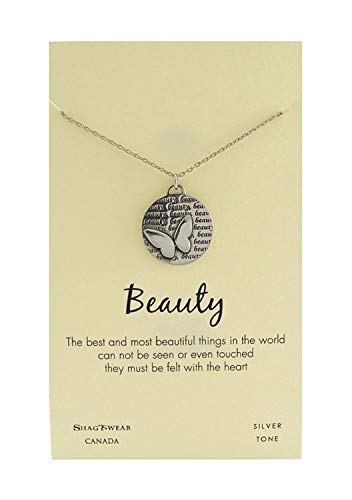 Shag Wear Animal Inspirations Quote Pendant Necklace (Beauty Butterfly Pendant) 925 Silver Inspiration Necklace
