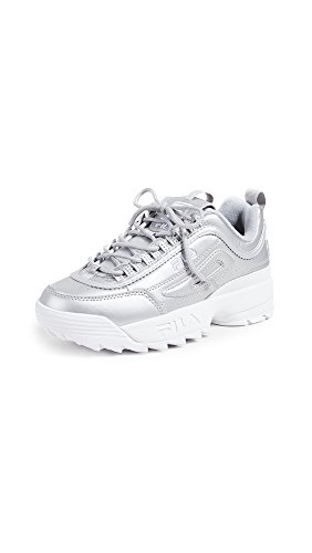 - Fila Women's Disruptor II Premium Metallic Sneakers, Metallic Silver/White, 11 M US