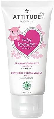 ATTITUDE Baby & Child Fluoride-Free Training Toothpaste, Natural, EWG Top Scoring, Strawberry, 75