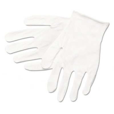 MCR Safety 8600C Inspectors Reversible/Unhemmed Cotton Blended Lisle Men's Gloves with Straight Thumb, White, Large, 12-Pair Cotton Reversible Glove