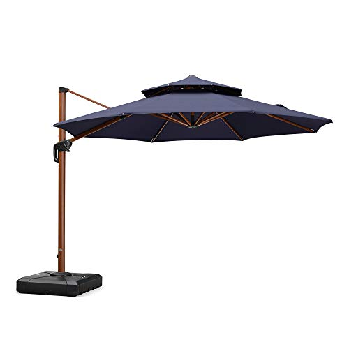 (PURPLE LEAF 11 Feet Double Top Deluxe Wood Pattern Patio Umbrella Offset Hanging Umbrella Cantilever Umbrella Outdoor Market Umbrella Garden Umbrella, Navy)