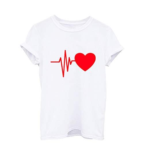 moda manica stampa con shirt casual elegante Npradla per cuori corta ampia donna T Re wHSfnxw