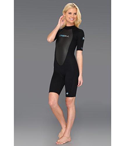 O'Neill  Women's Reactor 2mm Short Sleeve Back Zip Spring Wetsuit, Black/Berry,16