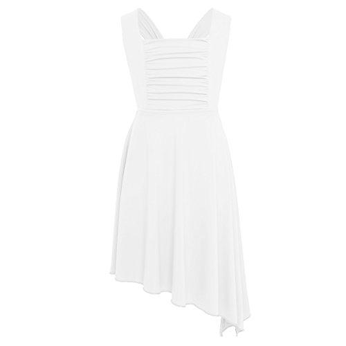 CHICTRY Kids Girl's Lyrical Dance Dress Criss-cross Back Irregular High-low Skirt Ballroom Dancing Costumes Ivory (Criss Cross Ballerina)
