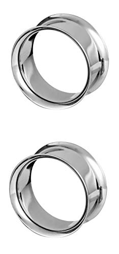 Forbidden Body Jewelry 1 1/8 Inch (28mm) Surgical Steel Mirror Finish Double Flared Tunnel Plug Earrings - Plugs Jewelry 10g Body