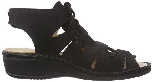 und Finn Schwarz Comfort Knöchelriemen Sandalen mit Keilabsatz Damen Malaga wRwYq7F