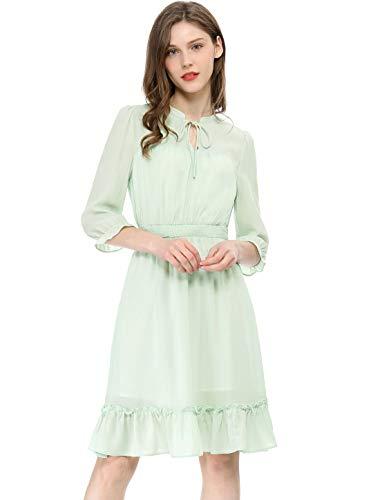 Allegra K Women's Ruffle Hem 3/4 Sleeve A-Line Short Chiffon Dress Green XL (US - Smocked A-line