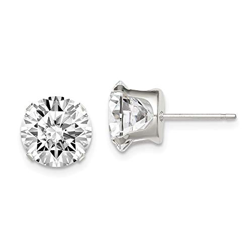 Sterling Silver 9mm Round Snap (Jewels By Lux Solid Sterling Silver 9mm Round Snap Set CZ Cubic Zirconia Stud Earrings)