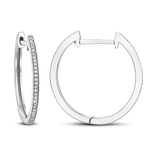 Diamond Couture 14K White Gold 0.10 Carats of Sparkling White Diamonds Hoop Earring for Women and Girls