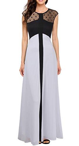 Viwenni Women's Vintage Sleeveless Causal Evening Party Chiffon Long Dress XL Black