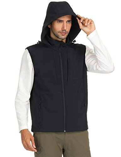 MIER Men's Fleece-Lined Softshell Vest Hooded Sleeveless Jacket Vest, 5 Pockets, Windproof & Water Resistant, Black, M