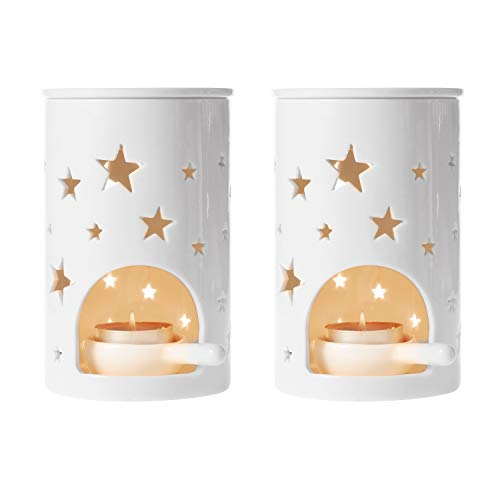T4U Ceramic Tealight Candle Holder Oil Burner, Essential Oil Incense Aroma Diffuser Furnace Home Decoration Romantic Gift White Set of 2, Star Pattern ()