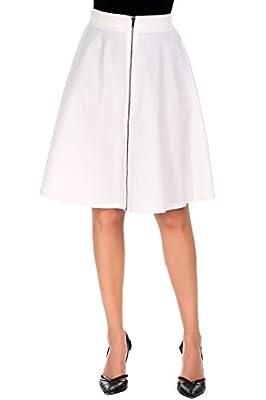 Shine Front Zipper Flare Skirt High Waist Stretch Knee Length A Line Skirt for Women