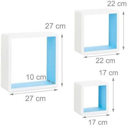 Forma Quadrata Decorative Bianco-Blu Relaxdays 10021792/_361 Set 3 Mensole da Parete Cube per il Soggiorno