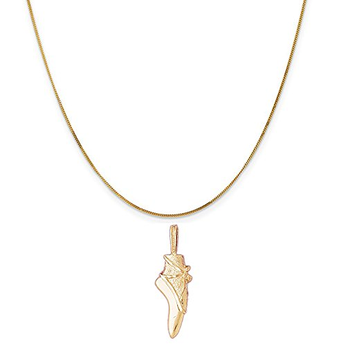 14k Yellow Gold Ballerina (14k Yellow Gold Ballerina Shoe Pendant on a 14K Yellow Gold Curb Chain Necklace, 20