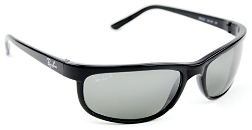 RAY BAN 2027 RB2027 601/W1 62mm Predator 2 Shiny Black / Polarized Grey Mirror (Rb2027 Predator 2)