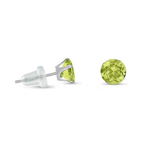 Crookston Solid 10k White Gold Round Lime Green Stud Earring - Choose Your Size | Model ERRNGS - 14827 | 3mm - Small