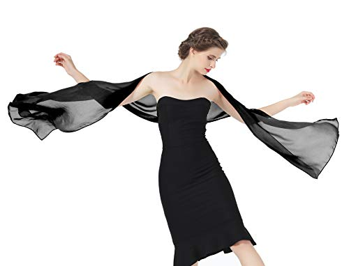 - Sheer Soft Chiffon Bridal Women's Shawl For Special Occasions Black 79