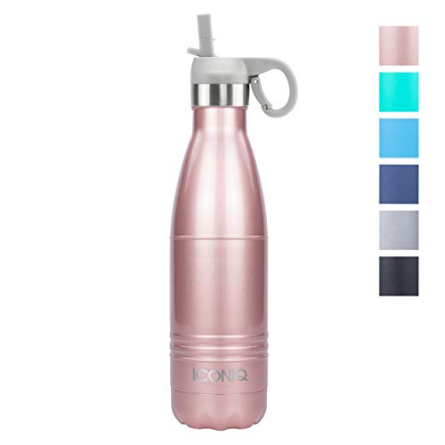ICONIQ Stainless Steel Vacuum Insulated Water Bottle with Pop Up Straw Cap, 17 Ounce (Rose Gold)