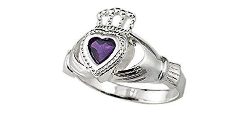 (silverandgoldgallery.com Sterling Silver Genuine Amethyst Claddagh Ring (Size 9))