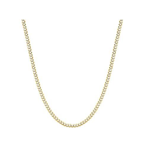 14k Two Tone Gold Necklace - 14K Gold 2.0mm Cuban/Curb Link Chain Necklace- Yellow, White, Two Tone Or Rose Gold (Two Tone, 18)